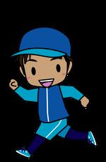 マラソンする男の子のイラスト