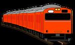 電車イラストオレンジ色