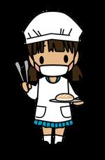 給食当番・パン担当の女子児童