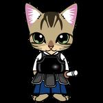 151剣道するキジトラのネコ