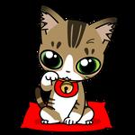 179可愛いシロタビの無病息災招き猫