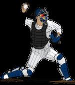 184野球イラスト捕手縞