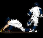 187野球イラスト一塁クロスプレー