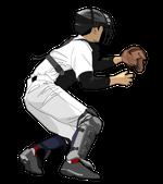 196野球イラスト捕手ランナー刺す