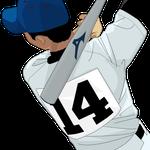 197野球イラストバッター素振り