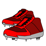 220野球赤のスパイク