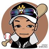 可愛い似顔絵野球F.T様
