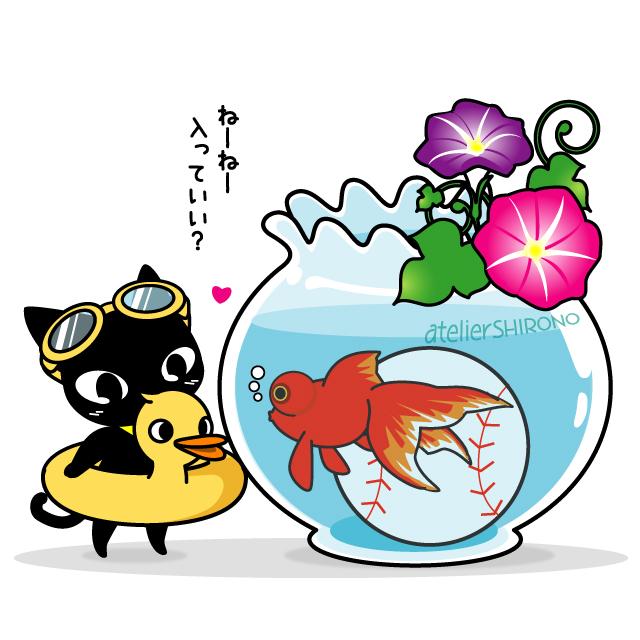 金魚鉢の金魚と水遊びしたいネコ