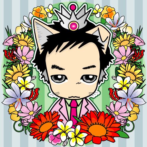 可愛いデフォルメ似顔絵花に囲まれたネコかぶり