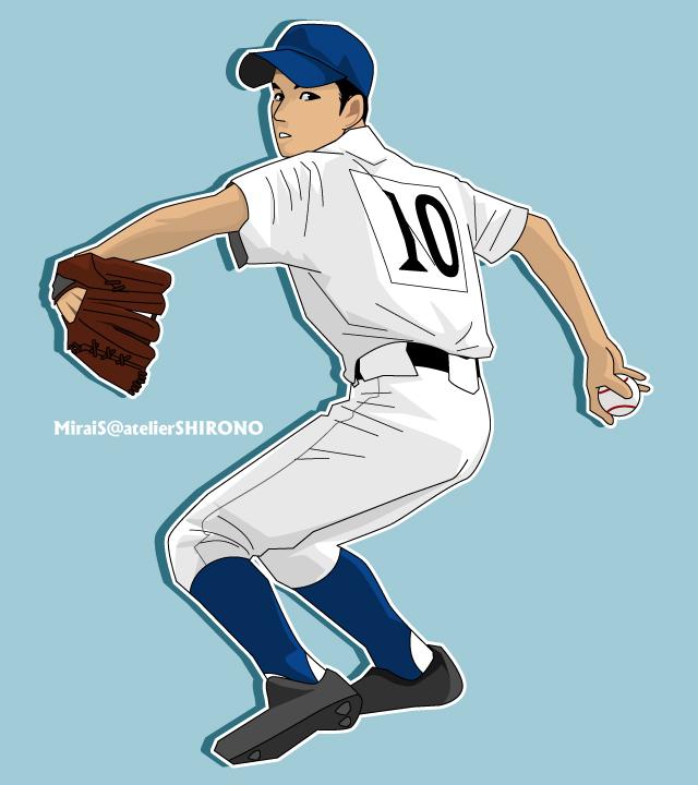 野球イラスト・高校球児のカッコいい似顔絵