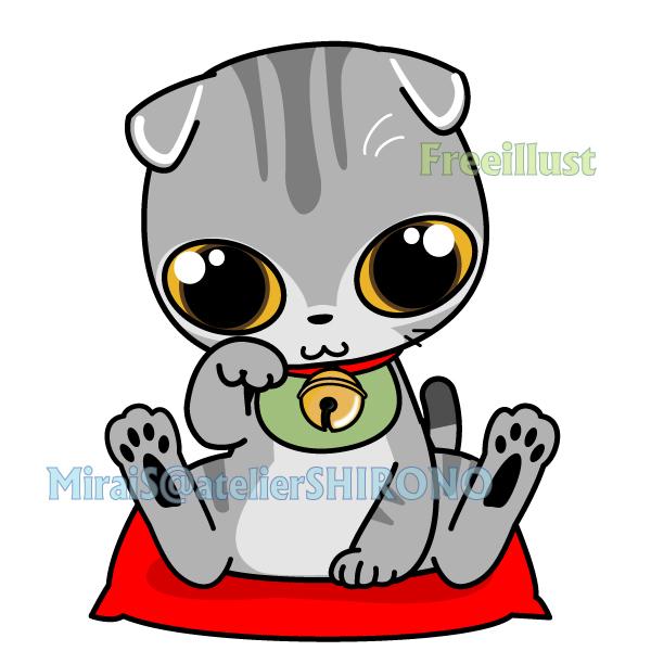 可愛いスコの金運招き猫のフリーイラスト