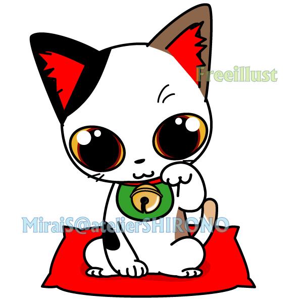 可愛い三毛猫の福運招き猫
