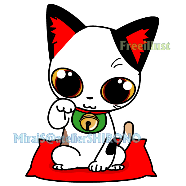 可愛い三毛猫の金運招き猫