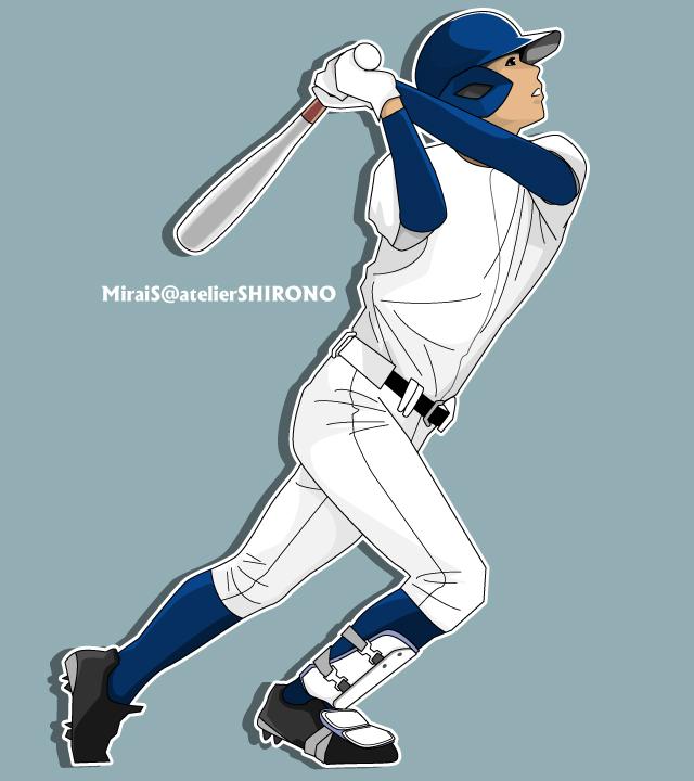 野球イラスト、高校球児のバッター、打者、かっこいい似顔絵