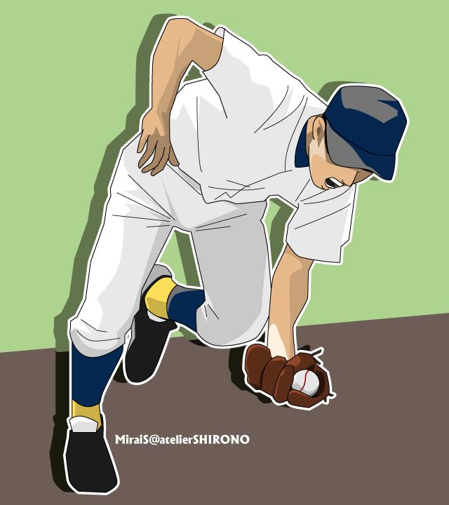 カッコいい高校球児の似顔絵野球イラスト