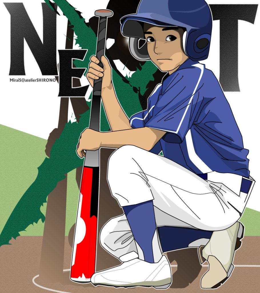 野球似顔絵イラスト少年ネクストバッター