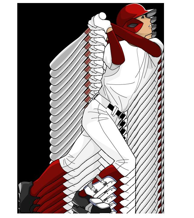 野球イラストバッターチームカラーはエンジ