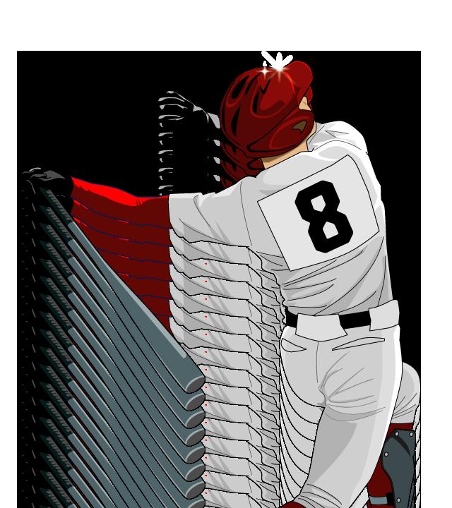 野球イラストバッター背番号は8