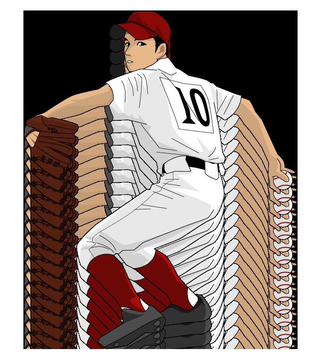 野球イラスト投手チームカラーはエンジ