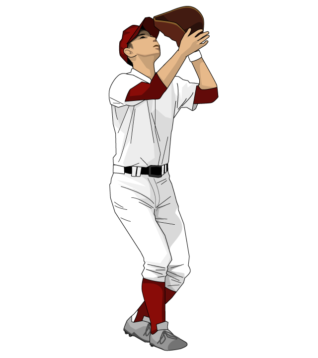 野球イラスト野手チームカラーはエンジ