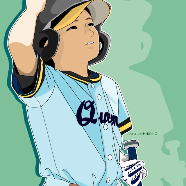 野球少年の優しい似顔絵。