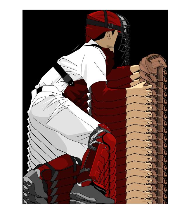 野球イラスト捕手エンジ色の防具