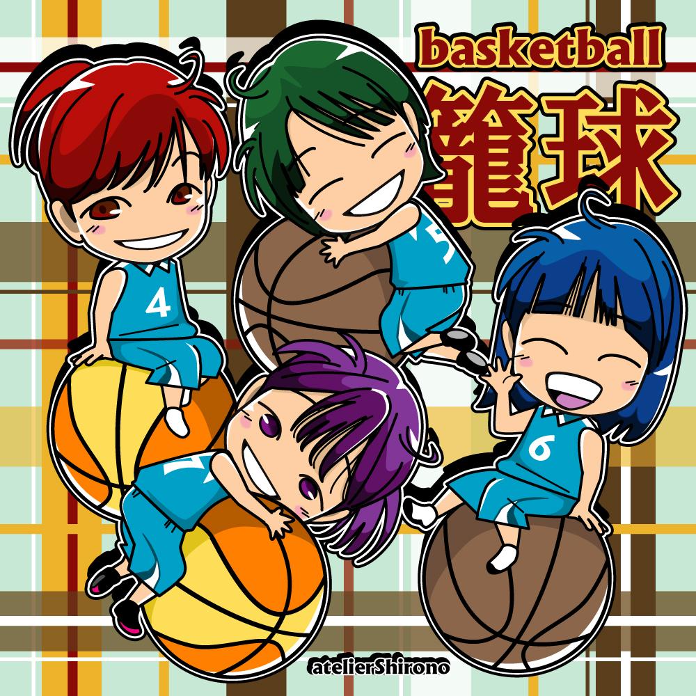 可愛いバスケ女子のチビキャラ風似顔絵