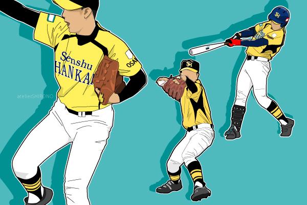 かっこいい高校球児の野球似顔絵イラスト