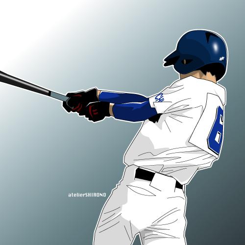 かっこいい球児の後姿野球イラスト