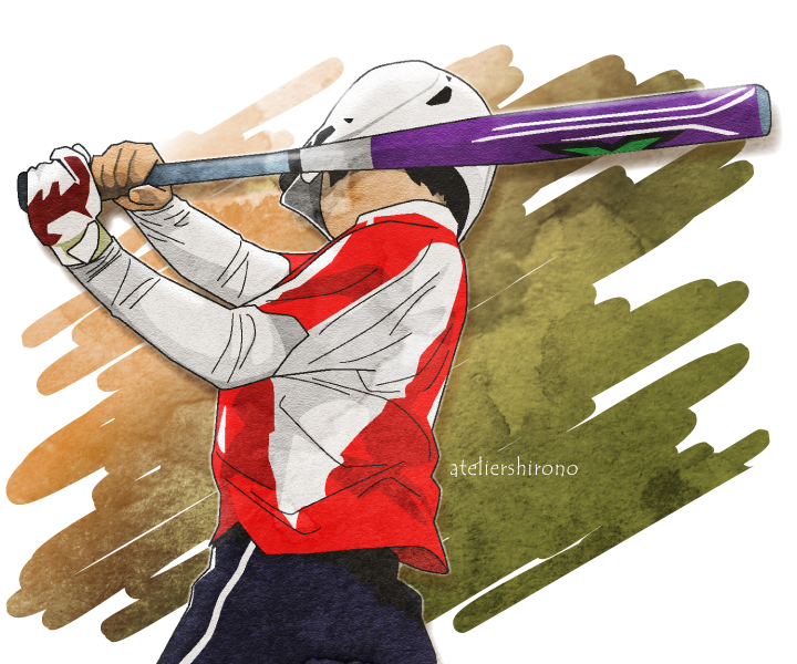 かっこいい野球ソフト水彩画イラスト
