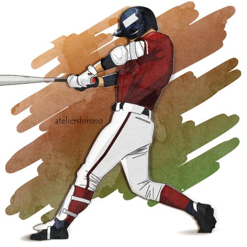 かっこいい野球打者の水彩画