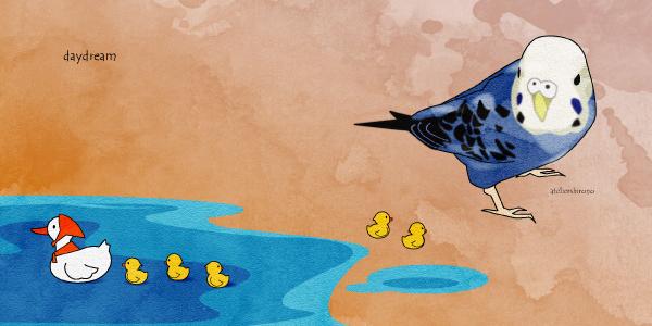 水彩画風かわいいインコとアヒルの親子