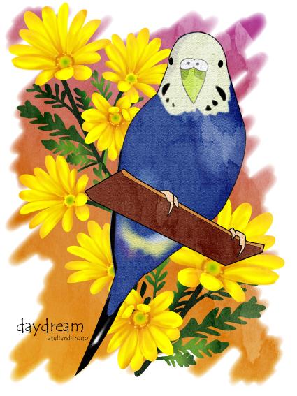 水彩画風イラスト可愛いインコと花