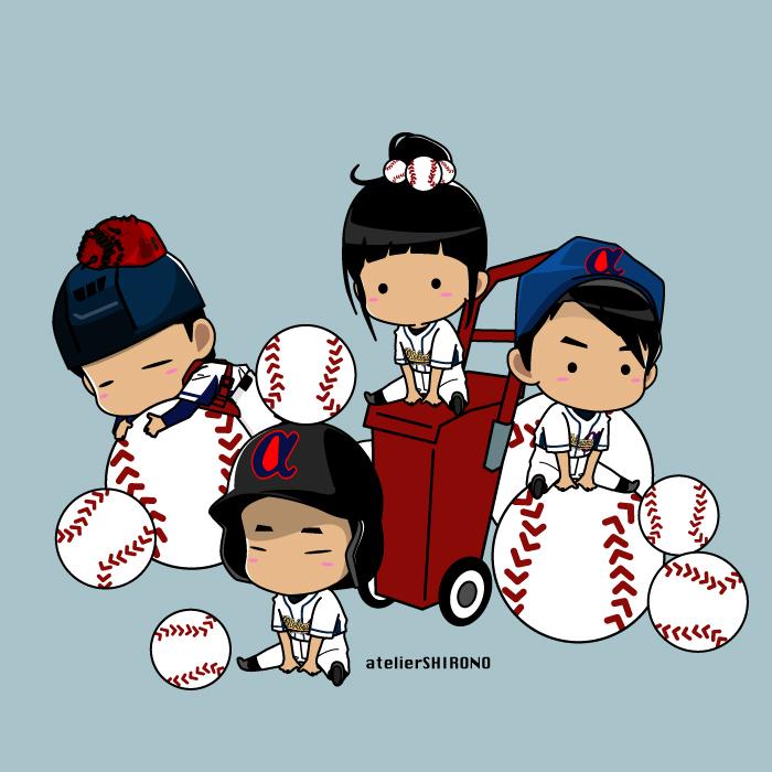 野球チームのかわいい似顔絵イラストをチビキャラにします