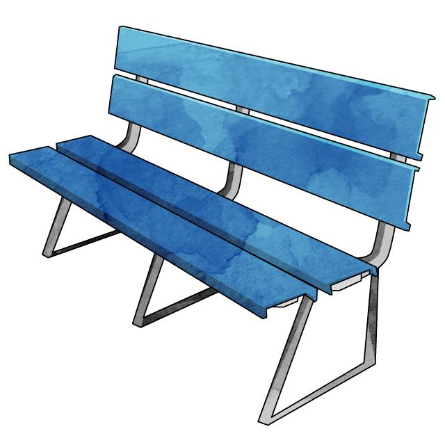 グラウンドや公園でよく見かける青いベンチ