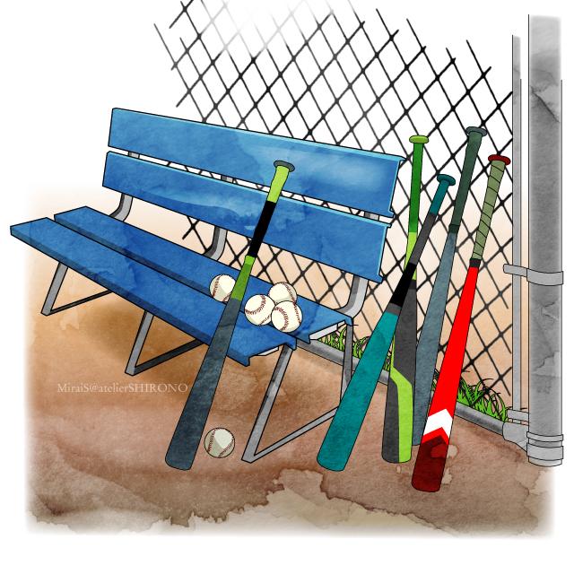 野球イラスト風景_金網と青いベンチとバット