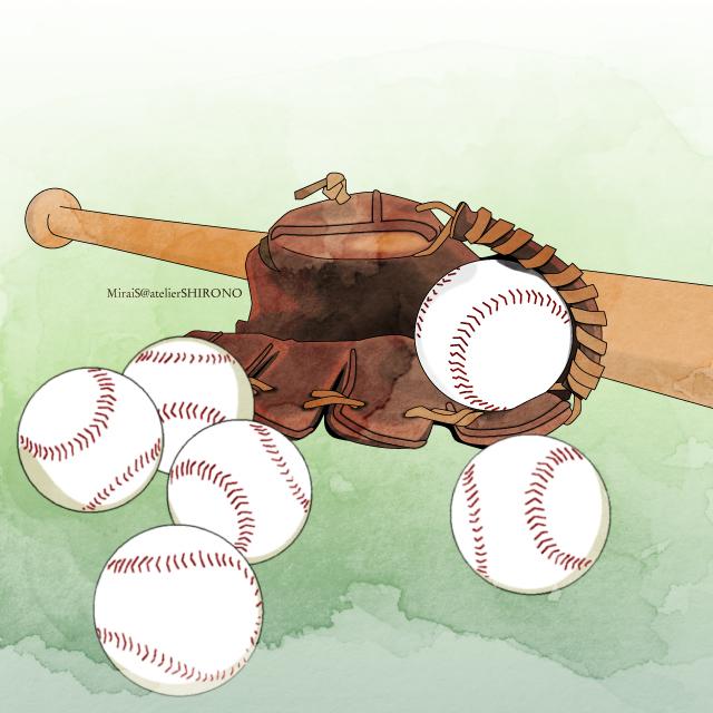 野球イラスト_ボールと木製バットとグローブ