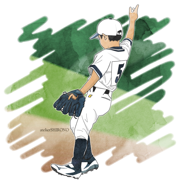 水彩画タッチの守備につく少年野球イラスト